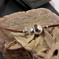 Sterling Silver Skull with Baltic Amber Eyes on Tan Leather Bracelet