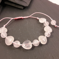 Rose Quartz Hearts and Rounds on Pink Cord Adjustable Bracelet