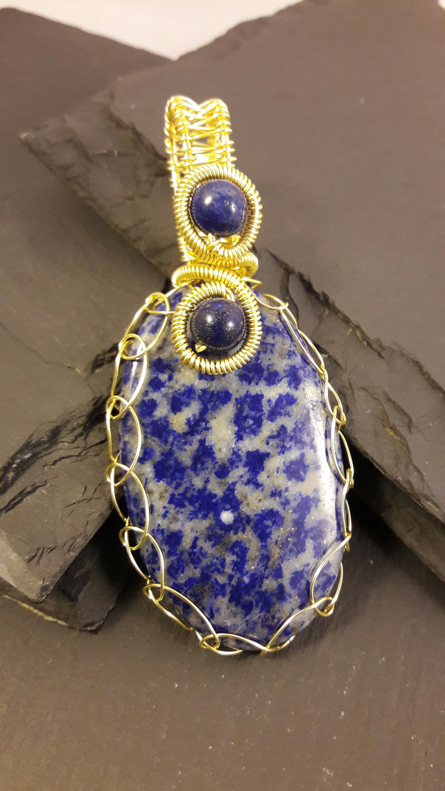 Lapis Lazuli Netted in Gold-Plated Wire Pendant