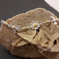 Sterling Silver Daisy and Bee Bracelet