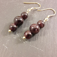 Garnet and Gold-Plated Sterling Silver Earrings