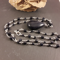 Blue Goldstone Extra Long Rosary Link Necklace