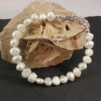 June White Pearl Nugget and Sterling Silver Bracelet