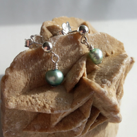 Turquoise Freshwater Pearl and Sterling Silver Earrings