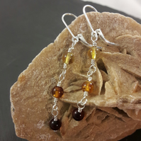Tricolour Baltic Amber and Sterling Silver Long Earrings