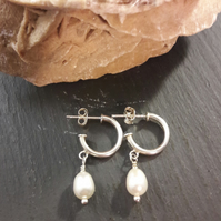 Sterling Silver Hoop and Cultured Pearl Earrings