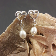 Sterling Silver Heart and Pearl Earrings