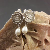 Sterling Silver Rose and Pearl Earrings