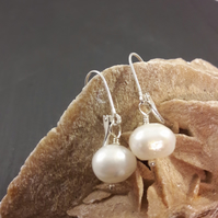 Sterling Silver and Baroque Pearl Earrings