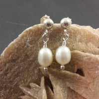 Sterling Silver and Drop Pearl Earrings
