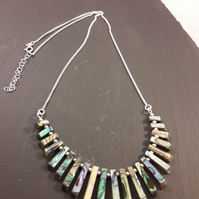 Abalone and Sterling Silver Layout Bar Necklace