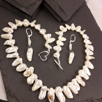 Fancy Pearl with Diamond Set Clasp Necklace and Earrings Set