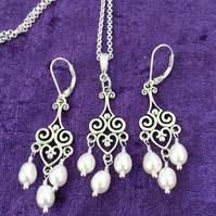 Freshwater Pearl and Sterling Silver Antique Style Necklace and Earring Set