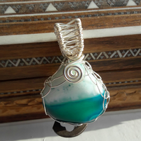 Green and White Onyx Teardrop Wire Wrapped Pendant