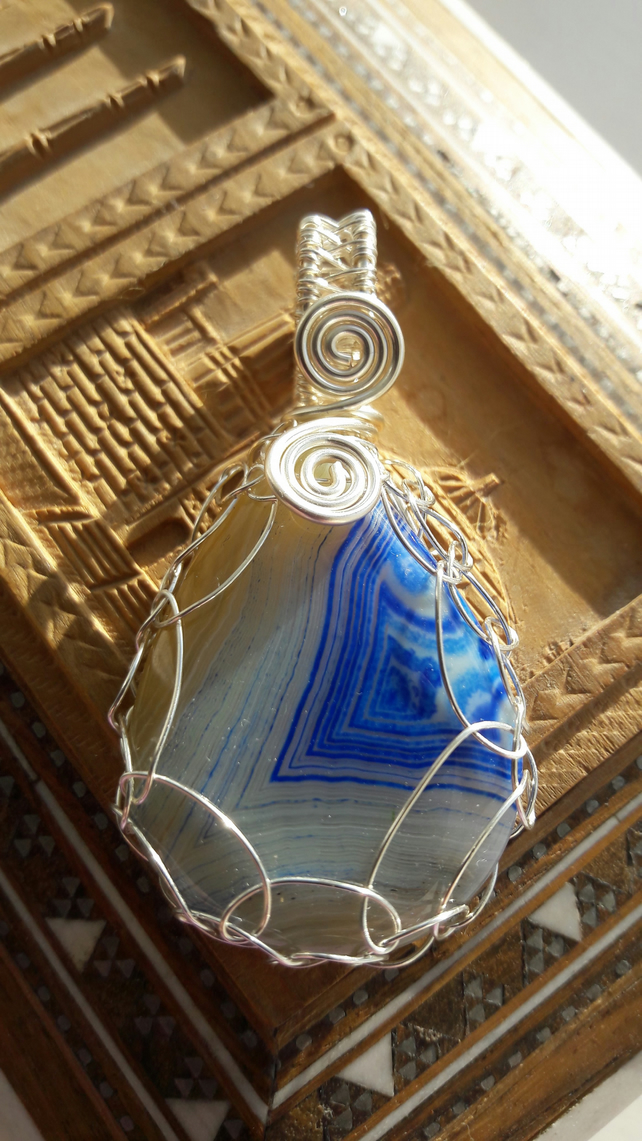 Blue and White Onyz Teardrop Wire Wrapped Pendant