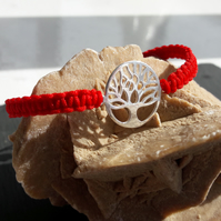 Sterling Silver Tree of Life and Red Cord Macrame Adjustable Bracelet