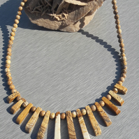 Picture Jasper Layout Bar Necklace