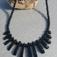 Black Agate Layout Bar Necklace