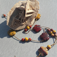 Mookite Flower and Bead Adjustable Necklace