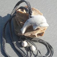 Unisex Howlite Dolphin on Macrame Adjustable Necklace