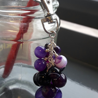 Purple Stripe Agate Bag Charm or Keyring