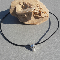 Sterling Silver Skull on Leather Necklace