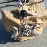 Black Agate, Triple Moon and Pentacle Pendant on Leather Cord Necklace
