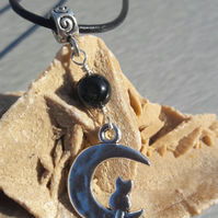 Cat in the Moon and Black Agate Pendant on Leather Cord Necklace