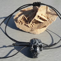 Snowflake Obsidian Skull on Cotton Cord Adjustable Necklace
