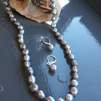Silver Freshwater Cultured Pearls knotted on Grey Silk Necklace and Earrings
