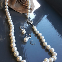 White Cultured Freshwater Pearls Knotted on Blue Silk Necklace and Earrings