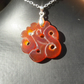 Carved Orange Agate on Sterling Silver Chain