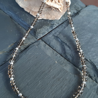 Smokey Quartz Rondelles and Sterling Silver Necklace
