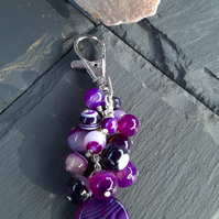 Purple Stripe Agate Bag Charm or Key Ring