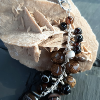 Brown Stripe Agate Bag Charm or Key Ring