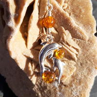 Baltic Amber and Sterling Silver Two Dolphins Necklace