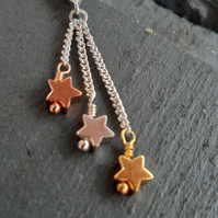 Sterling Silver, Gold and Rose-Gold Plated Star Necklace