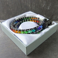 Leather, Pewter & Glass Triple Wrap Bracelet