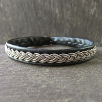 Classic Sami Style Leather and Pewter Bracelet in Metallic Black