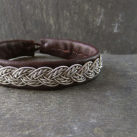 """Twisted Braid"". Leather and Pewter Bracelet, Made to Measure."