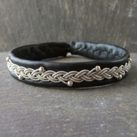 Sami Style Leather, Pewter Bracelet in Black with Sterling Silver Beads