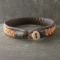 Sami Style Leather Bracelet with Copper braid
