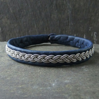 Classic Sami Style Leather Bracelet with Pewter Braid in Blue