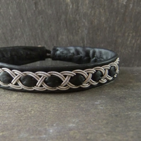 Sami Style Leather Bracelet with Pewter Braid & Interwoven Leather Strip