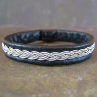 Classic Sami Style Leather Bracelet with Pewter Braid in Black