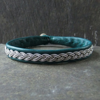 Classic Sami Style Leather Bracelet with Pewter Braid in Teal