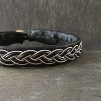 Sami Style Leather Bracelet with Pewter & Leather braid