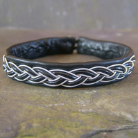 """Trad"". Sami Style Leather Bracelet - Pewter & Leather Braid, Made to Measure."