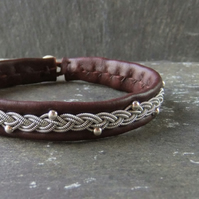 Elegant Sami Style Leather Bracelet with Pewter Braid and Sterling Silver Beads