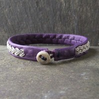 Classic Sami Style Leather Bracelet with Pewter Braid in Purple